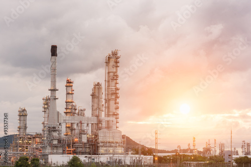 Poster Tokyo Oil Refinery factory in the morning and Sunrise