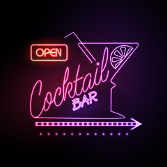 Panel SzklanyNeon sign Cocktail bar