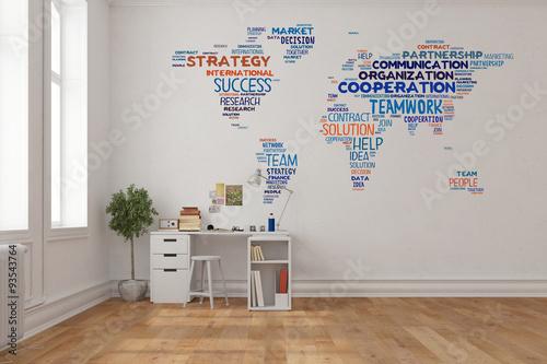 Weltkarte Als Wandtattoo Im Home Office Buy This Stock