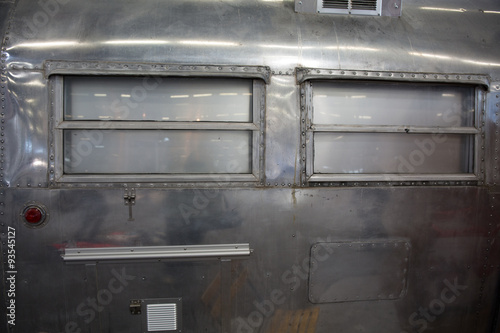 Metal background, vintage and retro texture of the airstream Wallpaper Mural