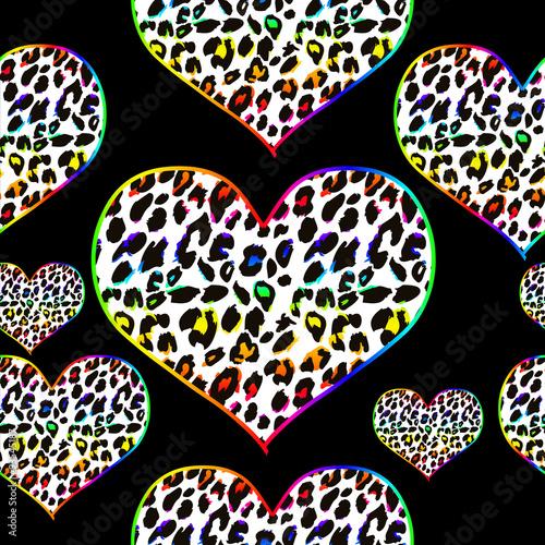 teczowe-serca-we-wzor-skory-leoparda-na-czarnym-tle