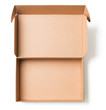 canvas print picture - Open cardboard box top view isolated