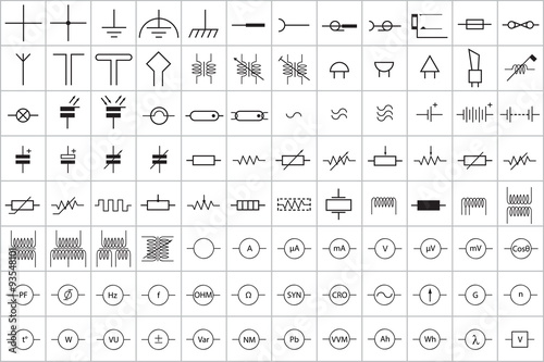 Canvas Print 96 Electronic and Electric Symbol Vector Vol.1
