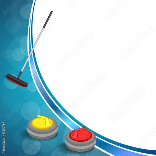 Leinwand Poster Background abstract curling sport blue ice red yellow stone broom frame illustra