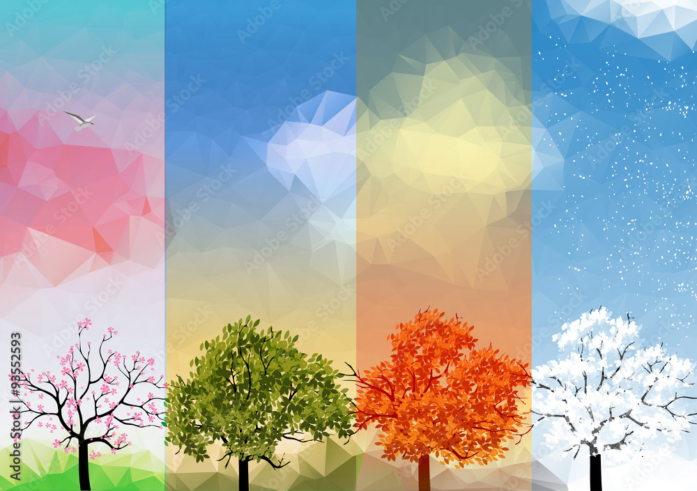 Fototapety, obrazy: Four Seasons Banners with Abstract Trees - Vector Illustration