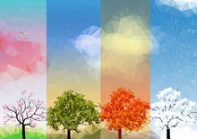 Four Seasons Banners With Abstract Trees - Vector Illustration