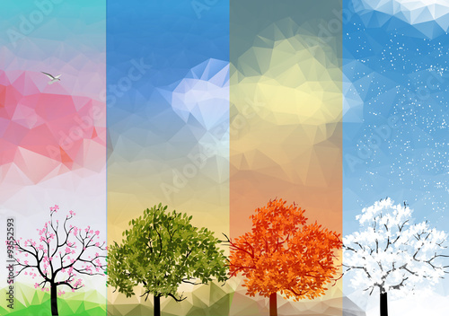 Láminas  Four Seasons Banners with Abstract Trees - Vector Illustration