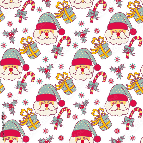 Poster Hibou Seamless pattern with Christmas objects