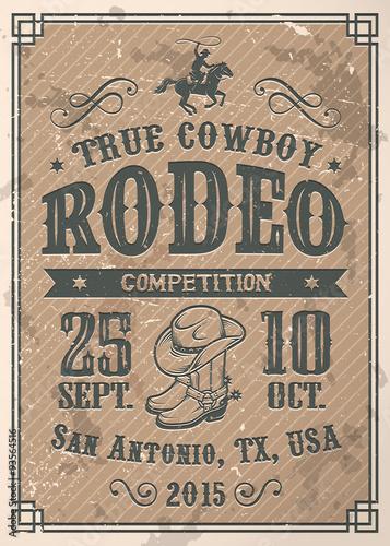 Valokuvatapetti American cowboy rodeo poster
