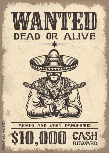 Fototapeta Vitage wild west wanted poster obraz