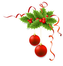 Vector Christmas Holly With Be...