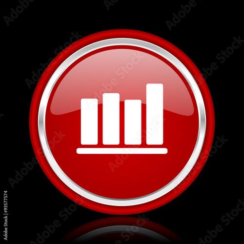 Fotografía  bar chart red glossy cirle web icon on black bacground