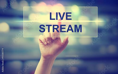 Fotografie, Obraz  Hand pressing Live Stream