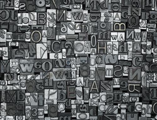 Fotografie, Tablou Letterpress background, close up of old metal letters