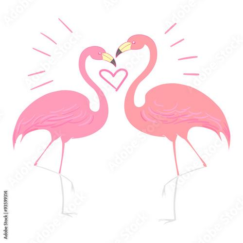 Canvas Prints Flamingo Bird Flamingo bird with heart vector illustration
