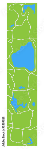 Cuadros en Lienzo Stylized map Central Park New York showing lakes and main transitions