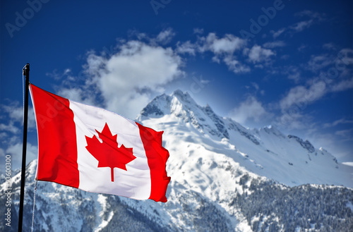 Spoed Foto op Canvas Canada Canada flag and beautiful Canadian landscapes
