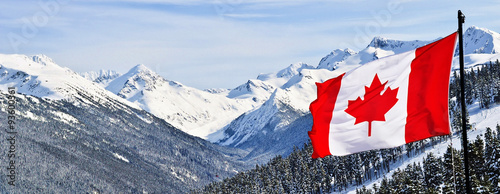Foto auf Leinwand Kanada Canada flag and beautiful Canadian landscapes