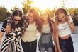 Leinwandbild Motiv Group og teenage girls walking