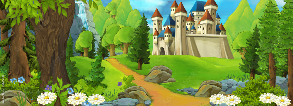 Fototapeta Cartoon scene of a castle on the hill - scene for different fairy tales - illustration for children