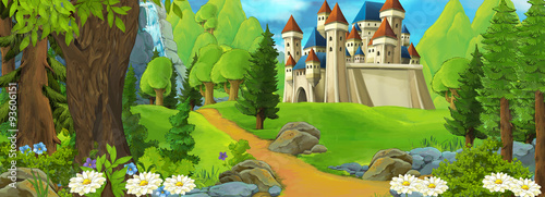 Cartoon scene of a castle on the hill - scene for different fairy tales - illustration for children