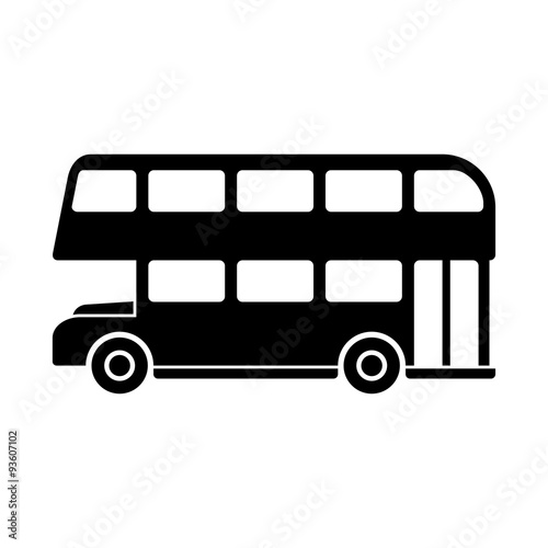 Photo  London Double Decker Bus Silhouette. Vector