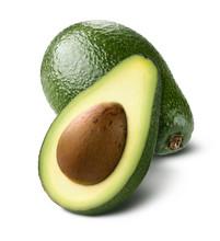 Whole Avocado Cut Half Isolated On White Background