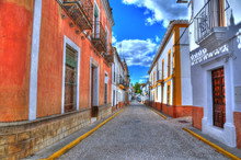 Colorful Magical Alley In A Small Spanish Village - Alajar In HDR (sunny Day)