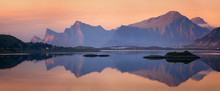 Sunset Panorama Of Lofoten Islands, Norway