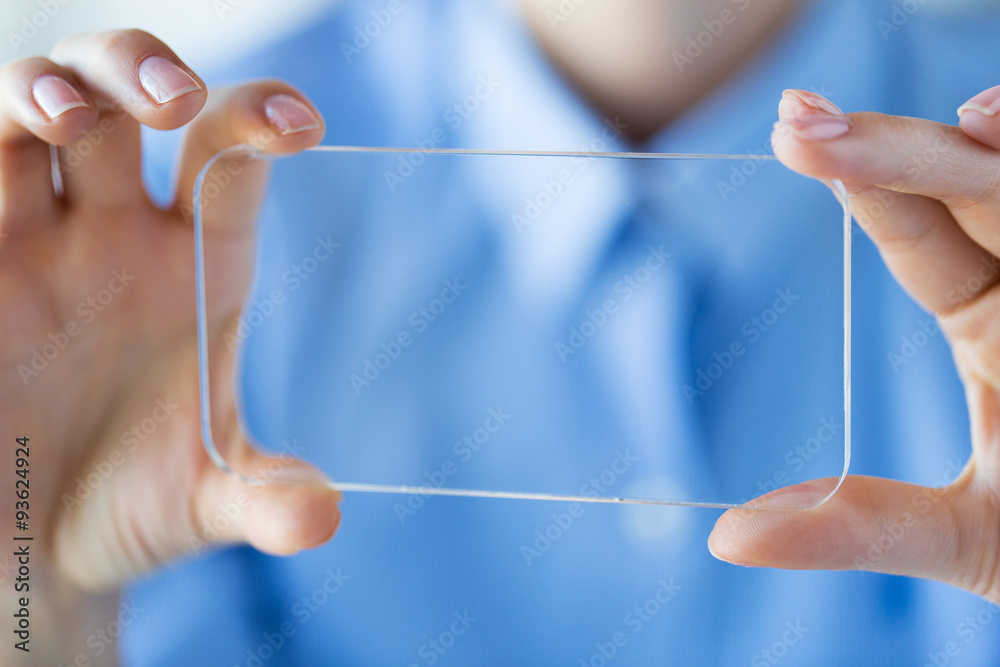 Fototapety, obrazy: close up of woman with transparent smartphone