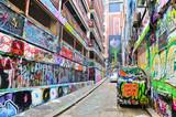 Fototapeta Młodzieżowe - View of colorful graffiti artwork at Hosier Lane in Melbourne