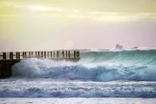 High Tide Into Durban Pier