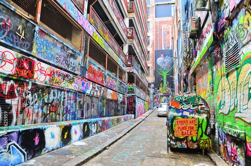 Foto op Aluminium Graffiti View of colorful graffiti artwork at Hosier Lane in Melbourne