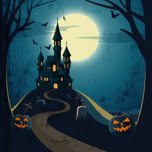 Halloween Landscape With Castle And Cemetery