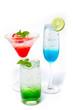 Italian Soda drink isolate on white , Drink Soda various fruits