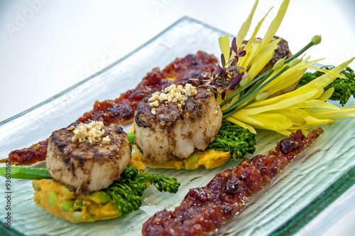 Fotografie, Obraz  gourmet scallops with a broccolini, asparagus, sweet potato mashed potato, and a