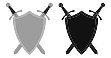 Two Crossed Swords Steel Shield Emblem. Color. Silhouette