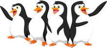 Four Cute Cartoon Penguin