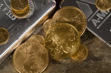 American Gold Eagle & Buffalo Atop Silver Bars