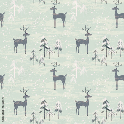 Cotton fabric Seamless pattern with deer in winter forest