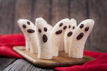 Homemade Halloween Scary Banana Ghosts Monsters With Chocolate