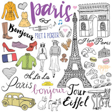Paris Doodles Elements. Hand Drawn Set With Eiffel Tower Bred Cafe, Taxi Triumf Arch, Fashion Elements, Cat And French Bulldog. Drawing Doodle Collection And Lettering, Isolated On White
