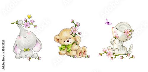 Fotografie, Obraz  Set of animals- elephant, kitten, bear