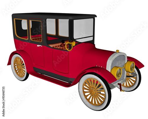 Tuinposter Oude auto s Vintage limousine - 3D render