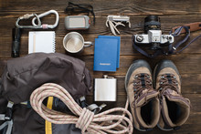 Travel Items Near Backpack On ...