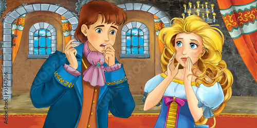 Fotografía Cartoon fairy tale scene - with prince and princess - illustration for the child
