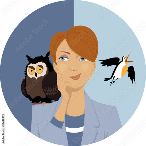 Night owl or morning lark? Portrait of a pensive woman, an owl and a lark on her Slika na platnu