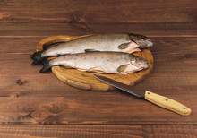 Fresh Raw Fish Trout Is Two Pieces On The Board