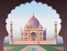 Taj Mahal Through The Window. Acient India