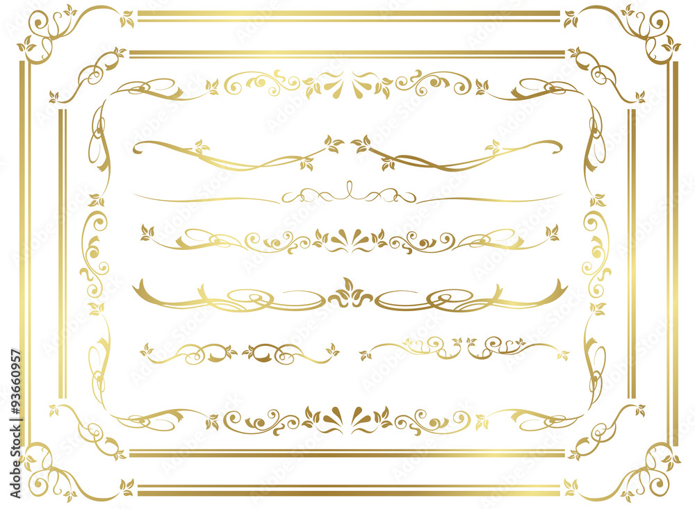 Fototapeta decorative gold frame set Vector